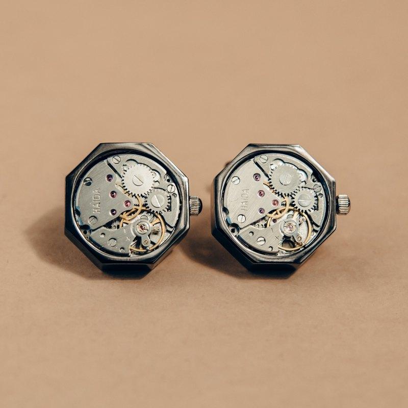 機械錶芯款 八角形黑色 袖扣