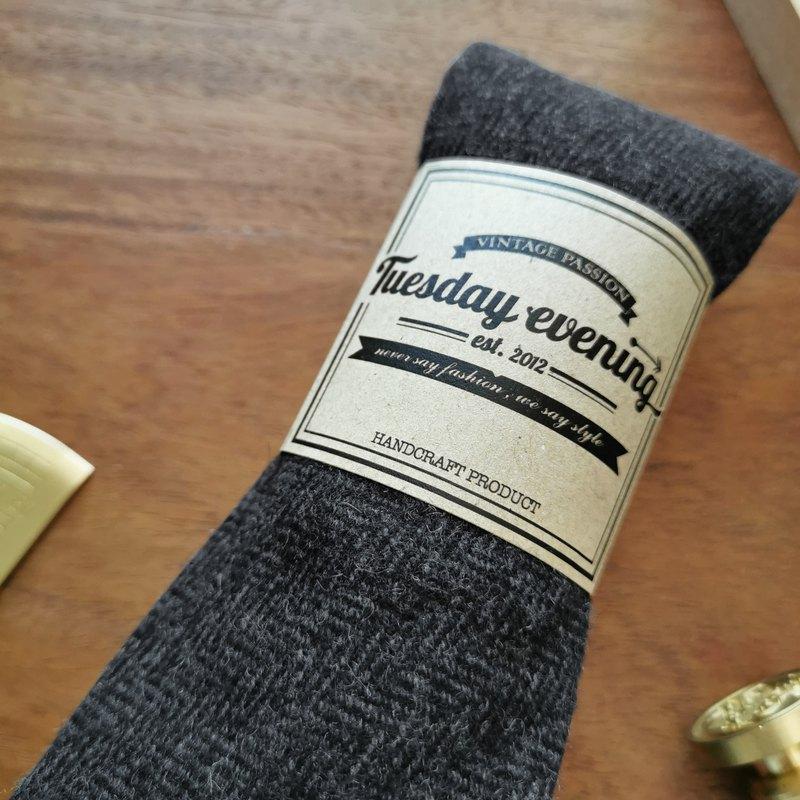 領帶人字紋灰色羊毛