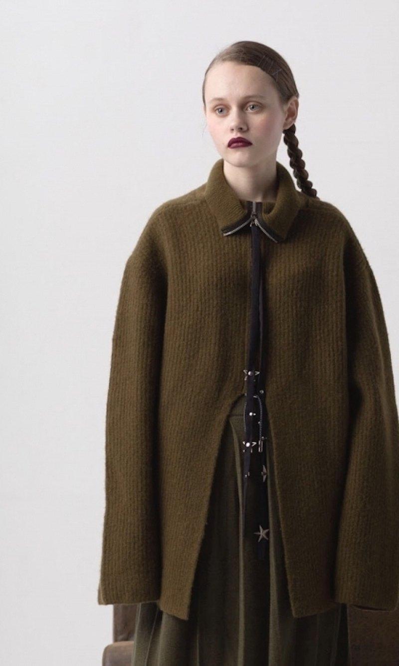 18秋冬AW拉鏈裝飾雪白色開口高領毛衣
