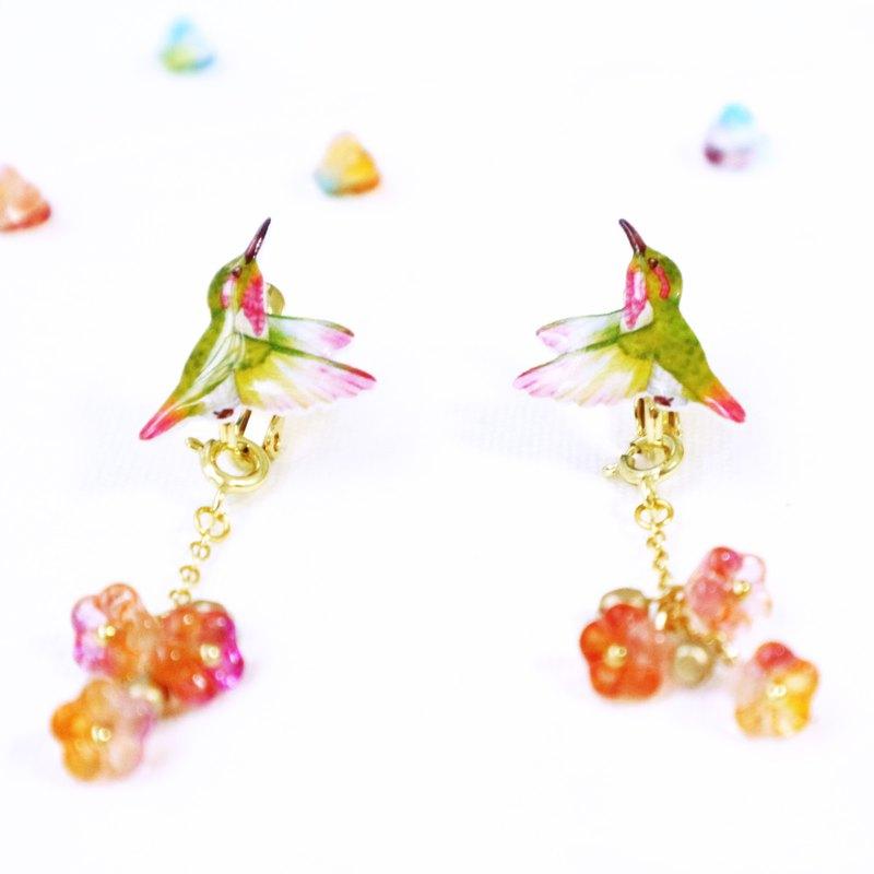 綠 蜂鳥 耳環 耳夾