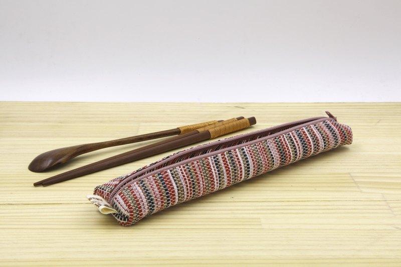 【紙布家】紙線編織 小餐具袋 波紋紅