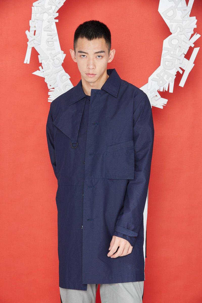 解構背包大衣 (藍黑)