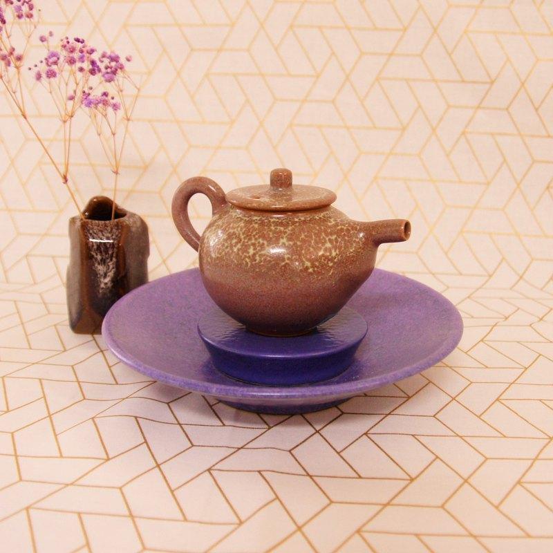 兩件式鈷紫壺承,茶船,盞托,茶托子-直徑約18公分