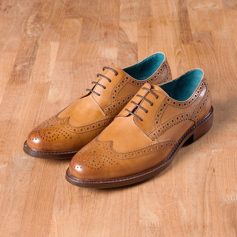 Vanger 雅憩全雕花德比紳士皮鞋 - Va256褐