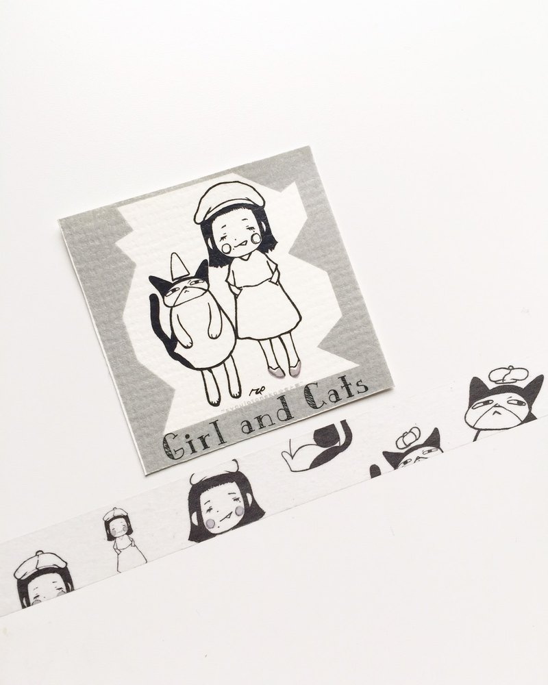 Girl and cats 紙膠帶(masking tape)