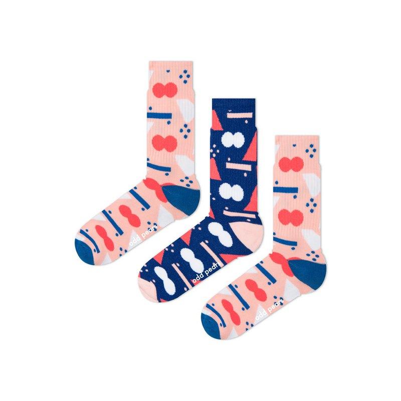 Odd Pears怪梨三隻腳襪子fun藍粉愛心錯覺運動厚款襪一雙三隻