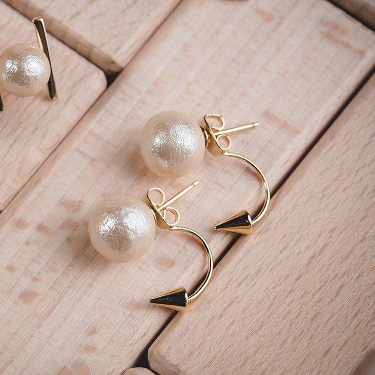 棉珍珠耳環 - Triangle