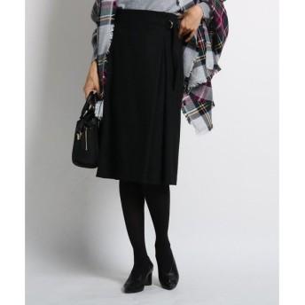 INDIVI / インディヴィ 【マシンウォッシュ】ラップ風ベルテッドスカート