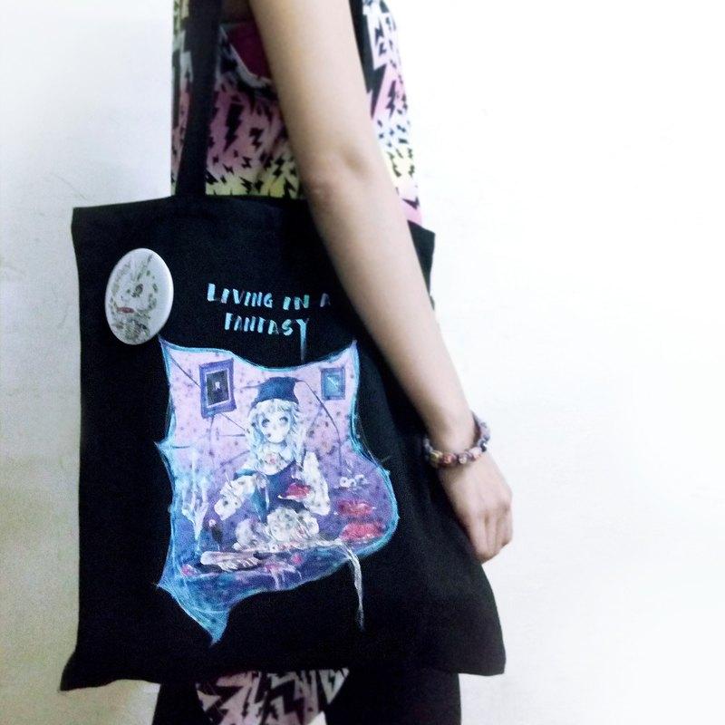 Alice Hobbey 送自選明信片 暗黑哥德 黑色長手提帆布袋 Tote Bag