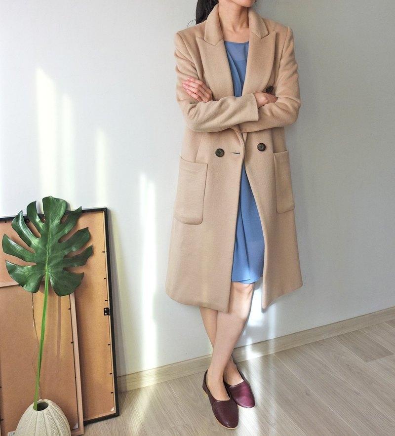 淺駝色羊毛雙排扣大衣 可訂做顏色 量身訂做