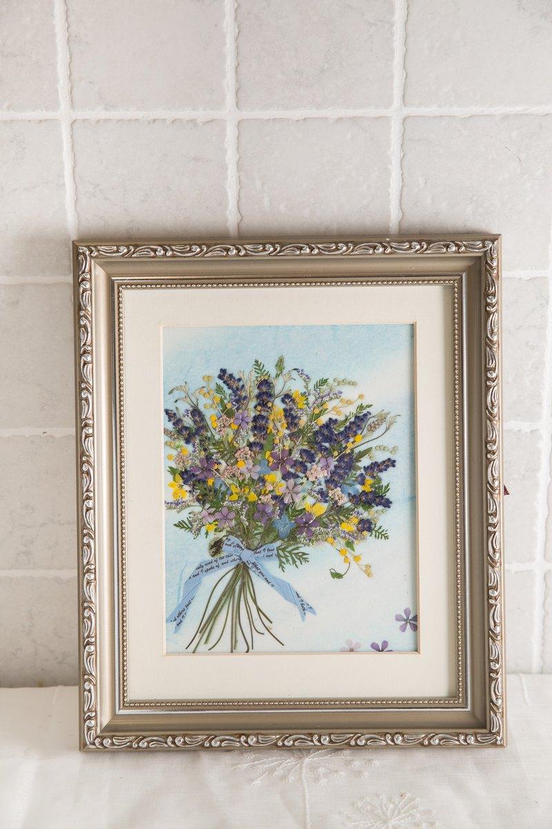 紫色浪漫押花花束