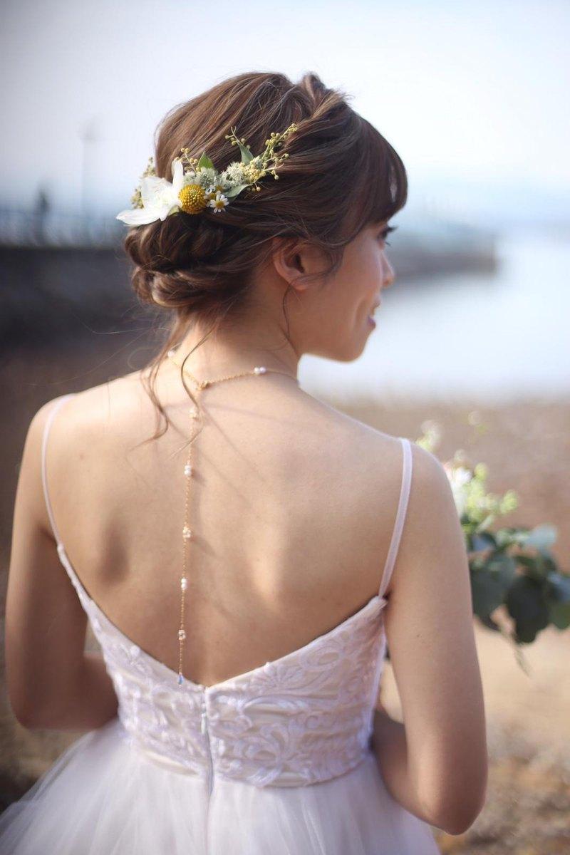 CLARETSwhite | 淡水珠玻璃短頸鏈連垂墜背鍊 新娘飾品