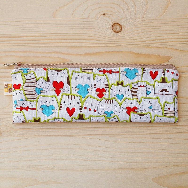愛心貓拉鏈寬版筷袋