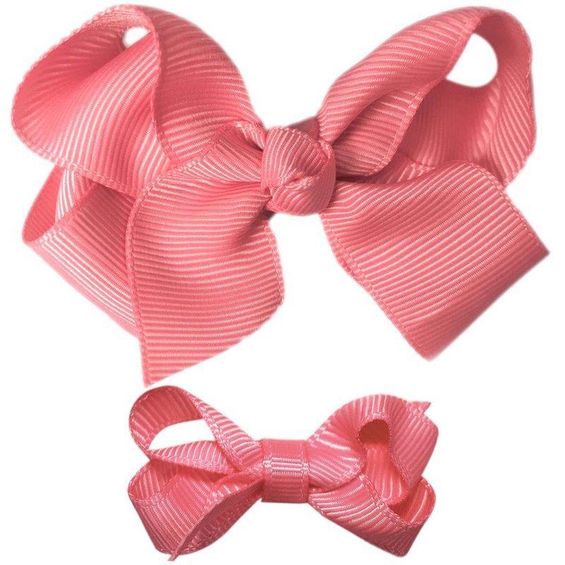 Cutie Bella 蝴蝶結全包布 手工髮飾中小套裝2入髮夾-Coral