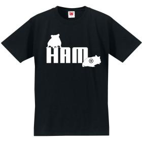 おもしろ Tシャツ ハムスター 【てくてくハム】【黒T】【XL】