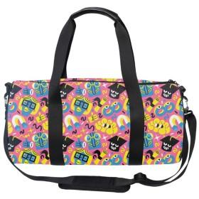 軽量 ナイロン ボストンバッグ 旅行バッグ 明るい漫画のパターン 肩掛け OK ショルダーストラップ 付 レディース