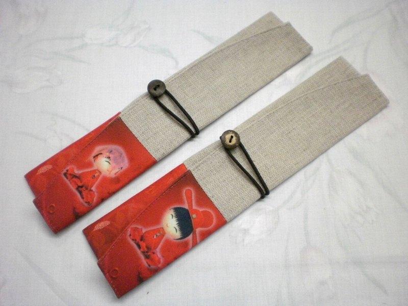 環保筷餐具組 隨身收納袋 筷套~新郎新娘( 一對2入組)PF-1 007(A+B)