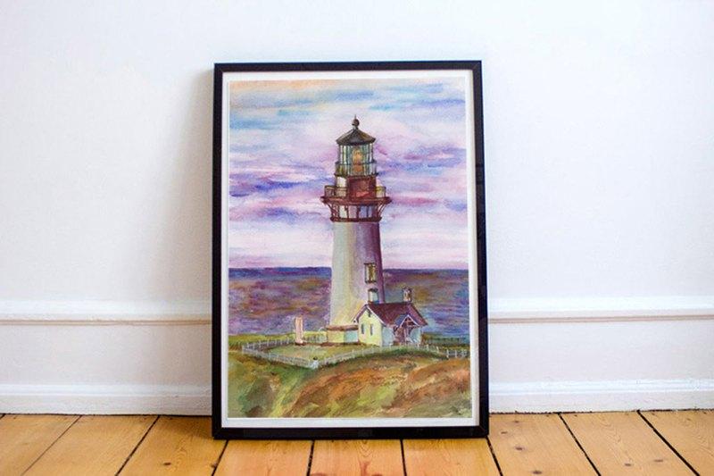 【燈塔】限量版複刻畫 | 海邊建築風景掛畫 | 大型水彩畫牆面裝飾