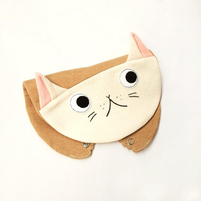 好奇小貓造型圍兜口水巾
