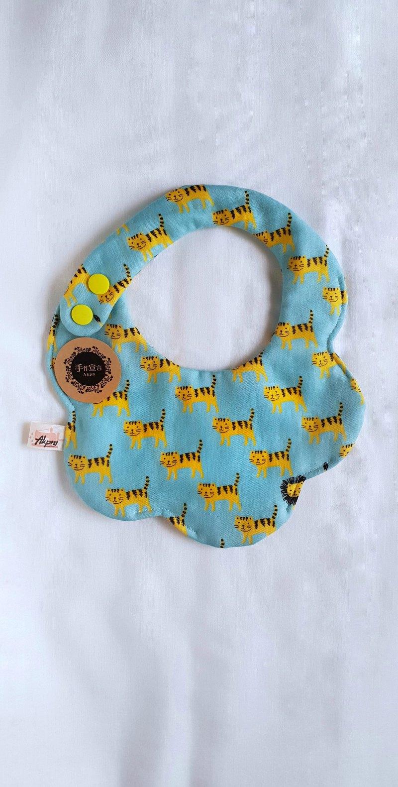 老虎/藍色底/八層紗100%cotton雙面圓弧圍兜.口水巾