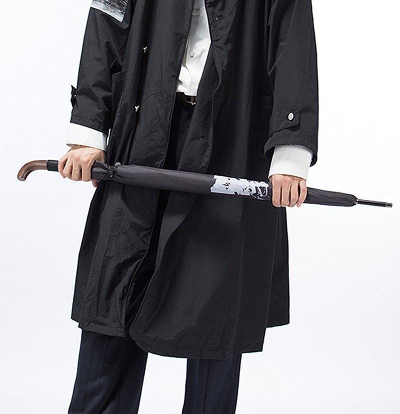 簦泇/超大黑色雨傘原創男式木質長柄書法武士中國風晴雨傘