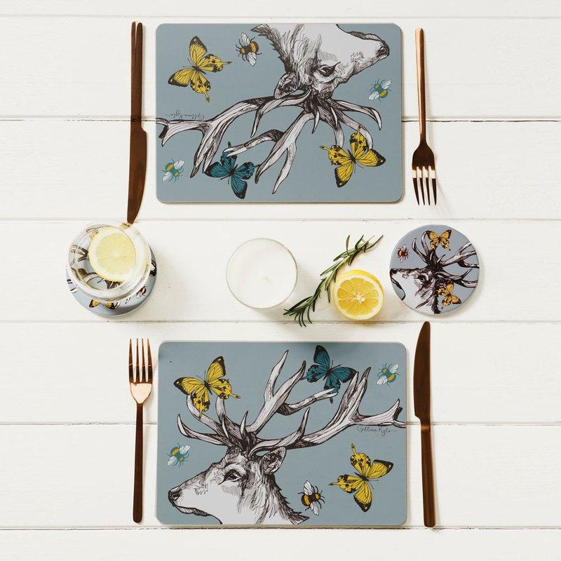 英國Gillian Kyle蘇格蘭鹿角圖騰木頭餐墊/桌墊(一組兩片入)