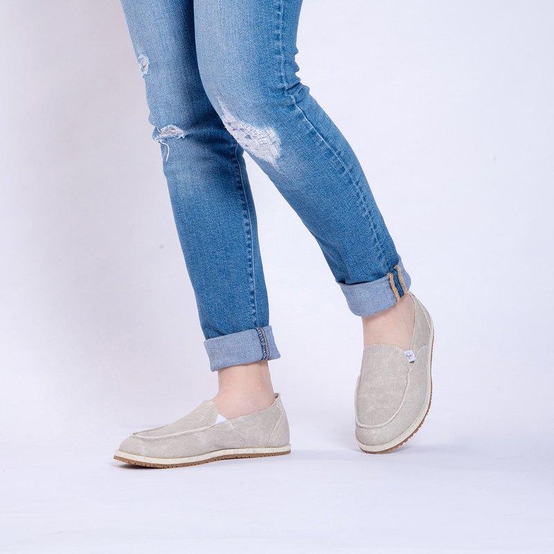 休閒鞋  Nantes系列   牛仔布懶人鞋   杏米色   女生款