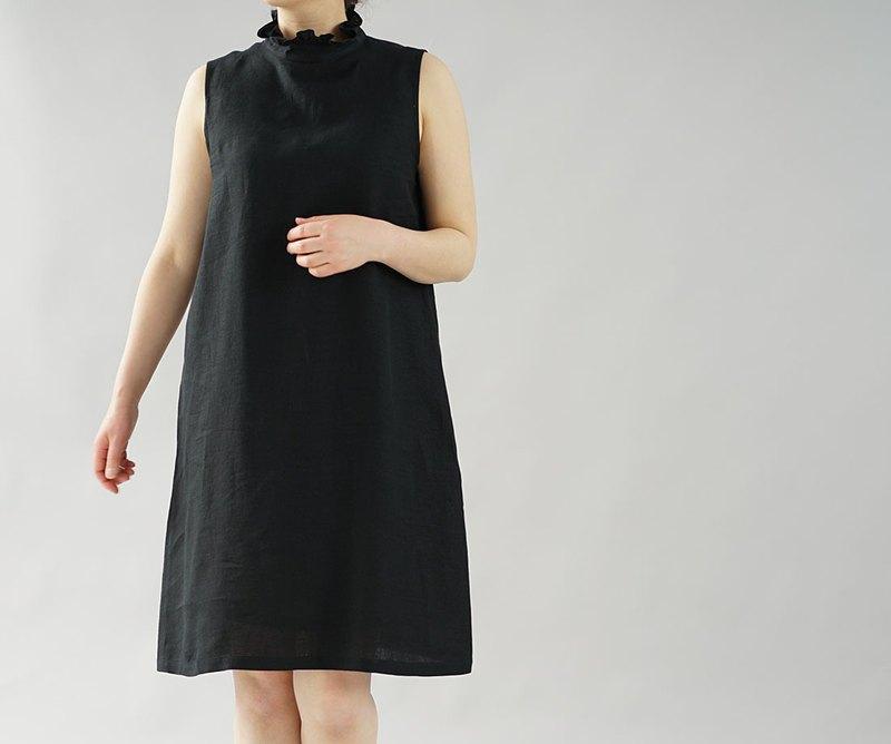 [Wafu]薄土麻亞麻荷葉邊領連衣裙連衣裙小內衣也內內褲/黑色p009a-bck1