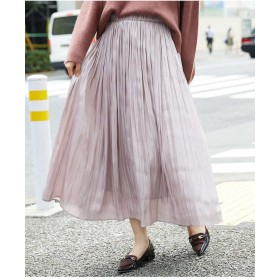 OFUON サテンギャザーロングスカート その他 スカート,ピンク
