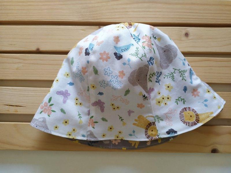 雙面六片帽:獅子 大象  軟帽 彌月禮物  漁夫帽 嬰兒帽 雙面帽