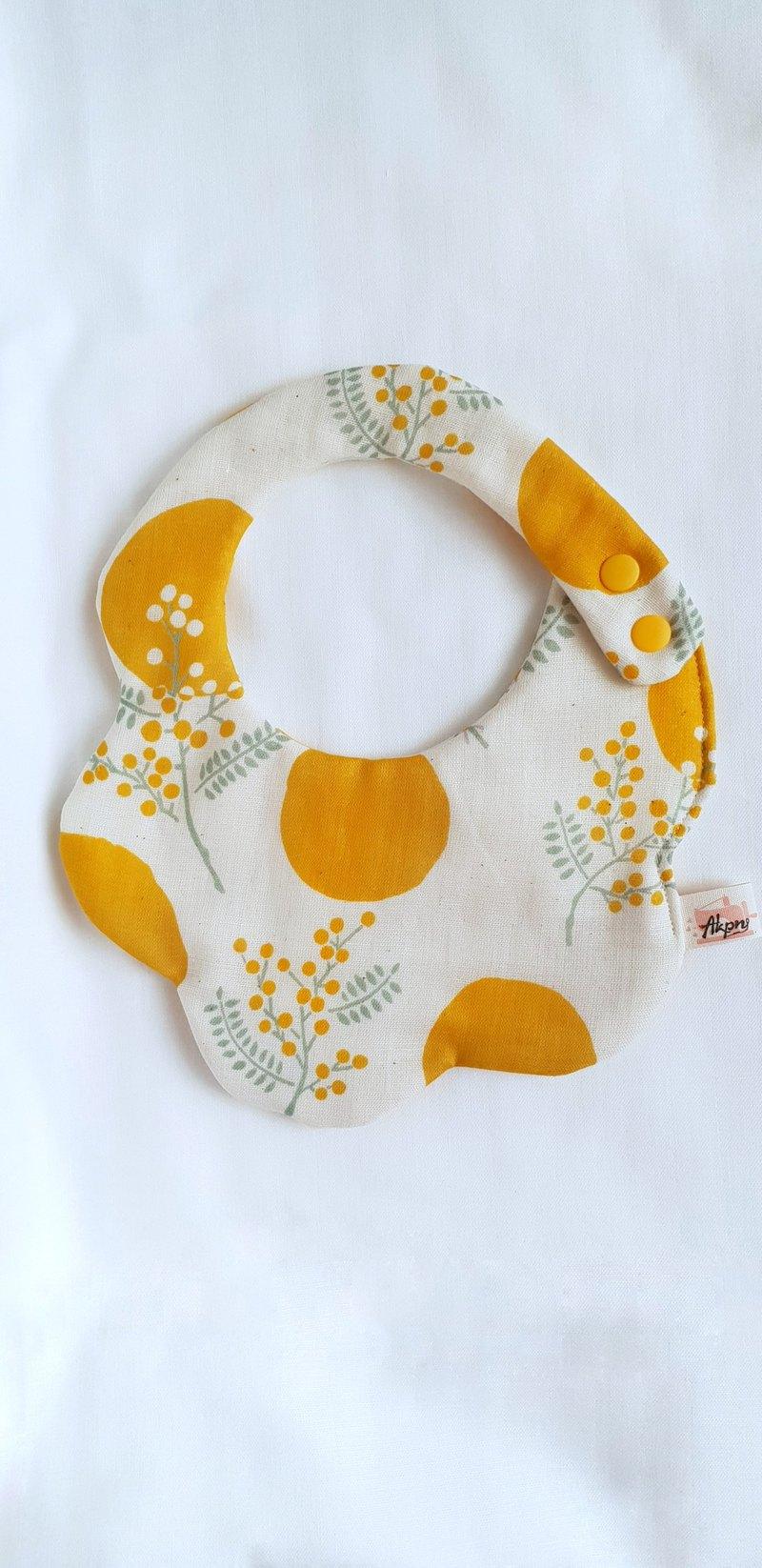 優雅花草/芥黃色/八層紗100%cotton雙面圓弧圍兜.口水巾