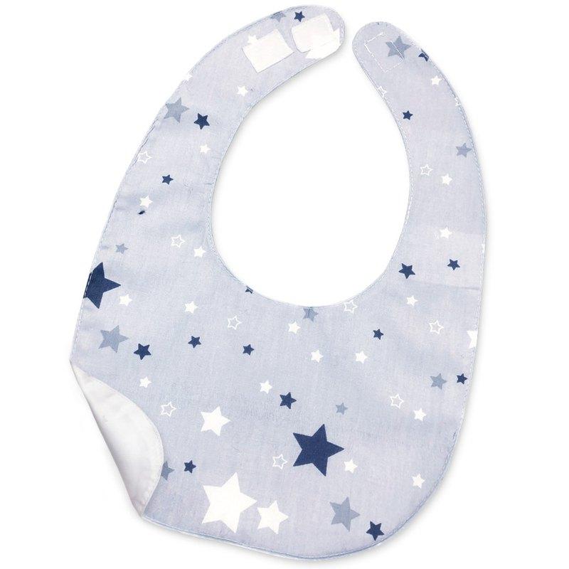 防水圍兜 口水巾 印花 純棉  藍灰 白 星星