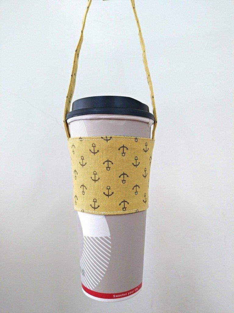 飲料杯套 環保杯套 手搖飲料袋 咖啡袋 手提袋 -刷白懷舊風-船錨(土黃)