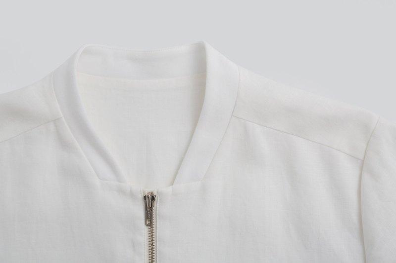 白色亞麻棉長袖外套