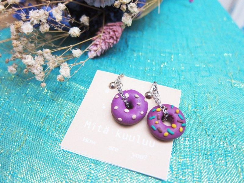 甜甜圈手作耳環 (夾式)