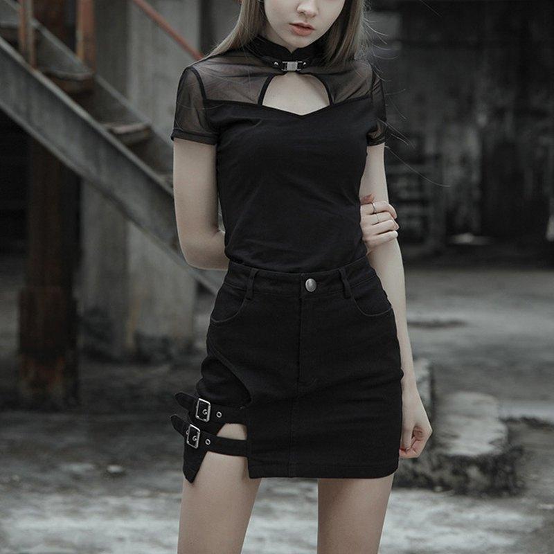 龐克開衩釦袢窄迷你裙 / *新增大尺碼* / 即將絕版