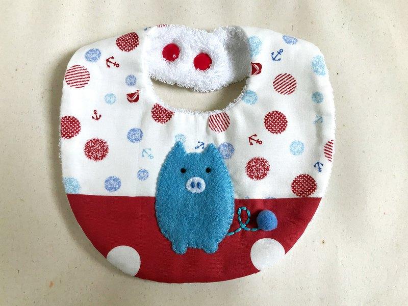 圍兜兜-藍色毛球小豬