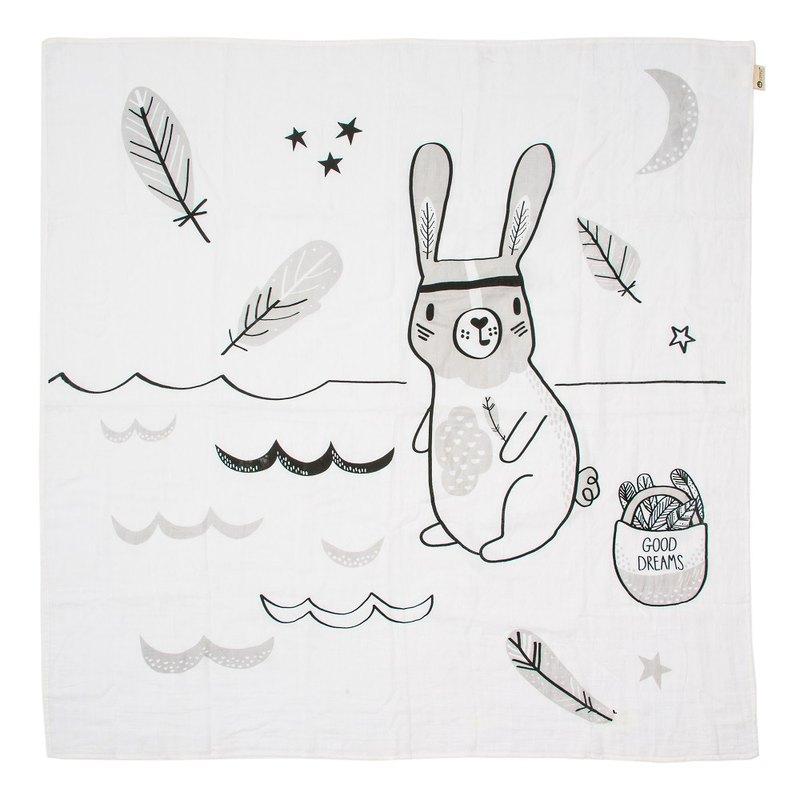 澳洲Kippins有機棉包巾-瑞恩小兔RIVER MUSLIN WRAP
