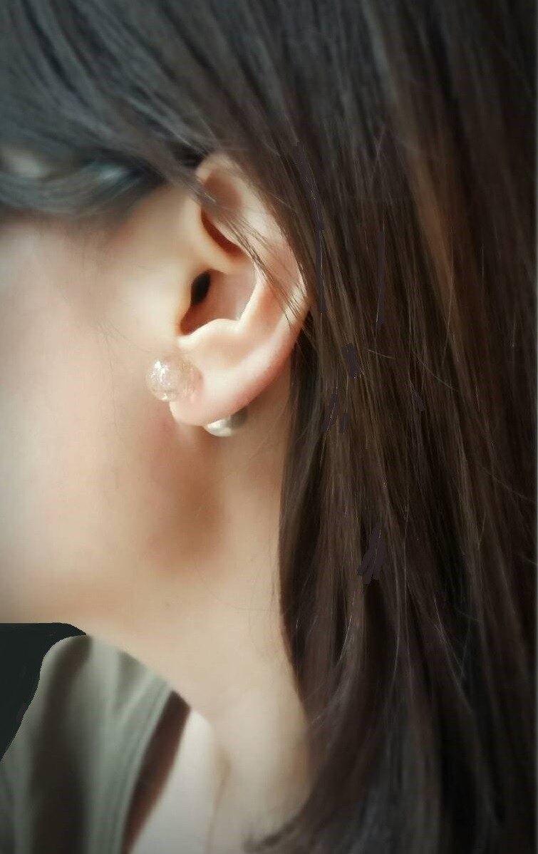 映月*  粉色 手工金沙 夜光 琉璃 珍珠 香氛 精油耳環  輕珠寶