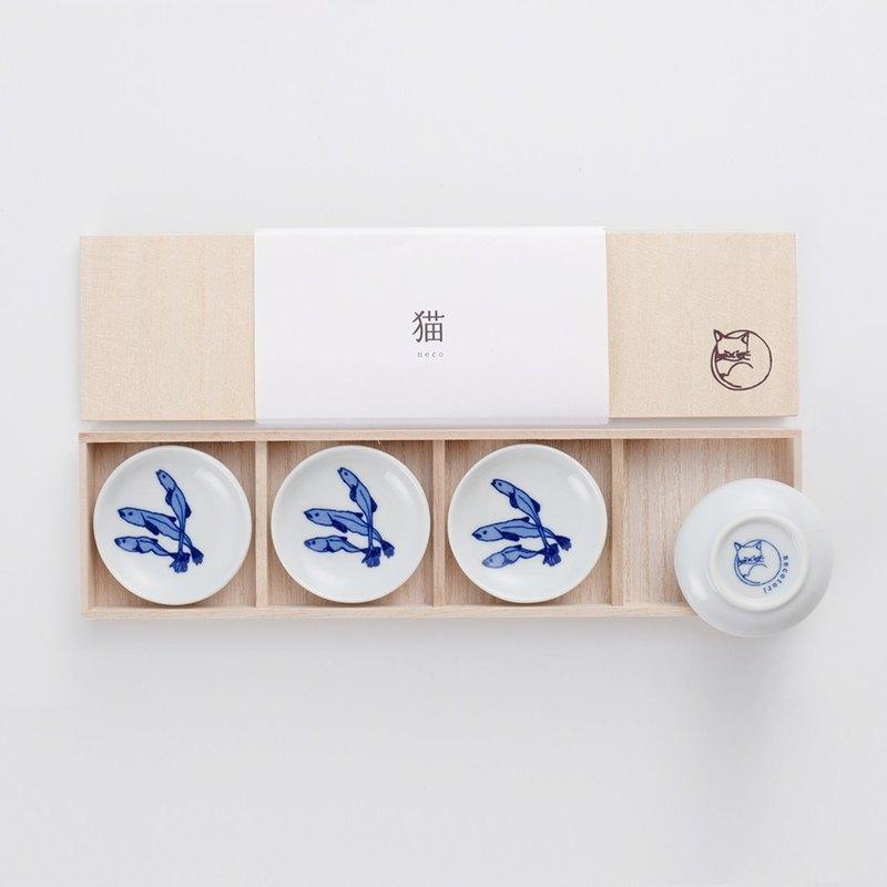石丸波佐見燒 - 小魚乾豆皿禮盒(4件組)