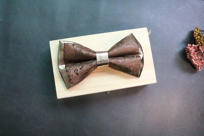 香槟金双层皮革拼接龙纹领结英伦风蝴蝶结