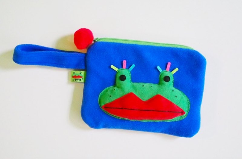 E*group 阿蛙手提包(紫條紋.藍綠色)(青蛙)