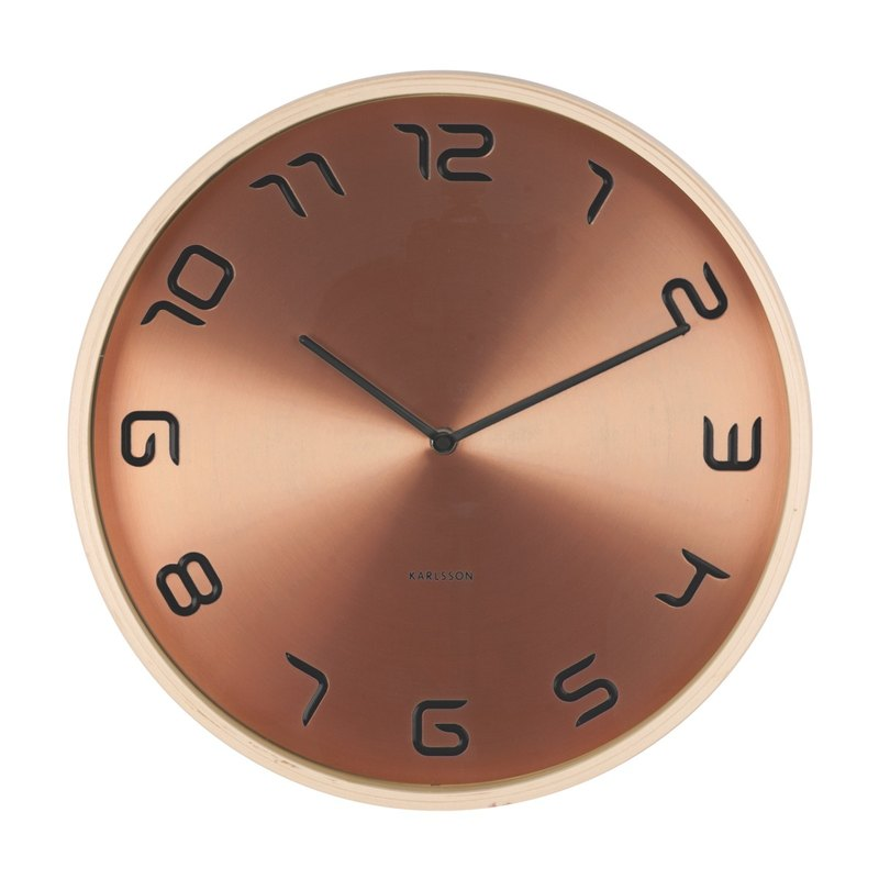 Karlsson, 紅銅色鐘面木框掛鐘 Wall clock Bent wood copper