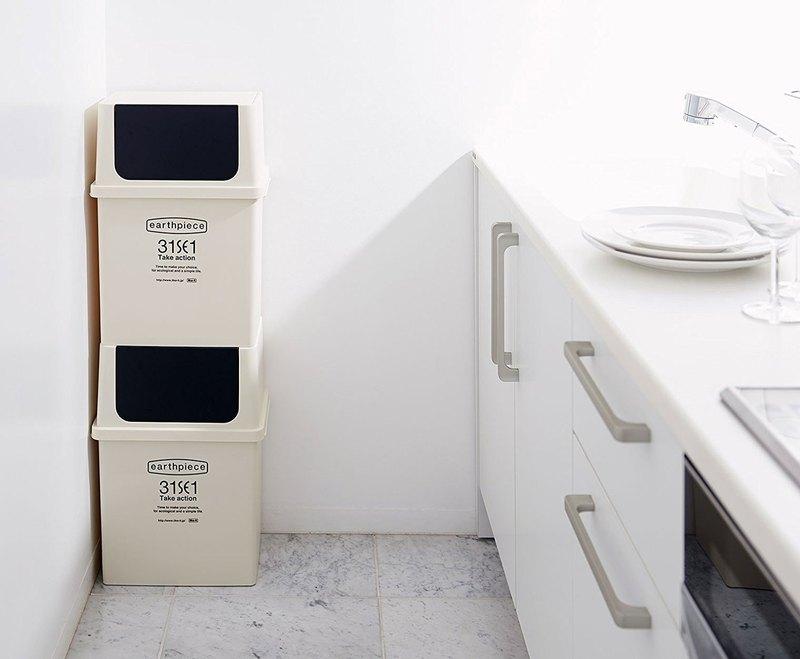 日本Like-it earthpiece北歐風寬型前開式分類垃圾桶17L - 四色