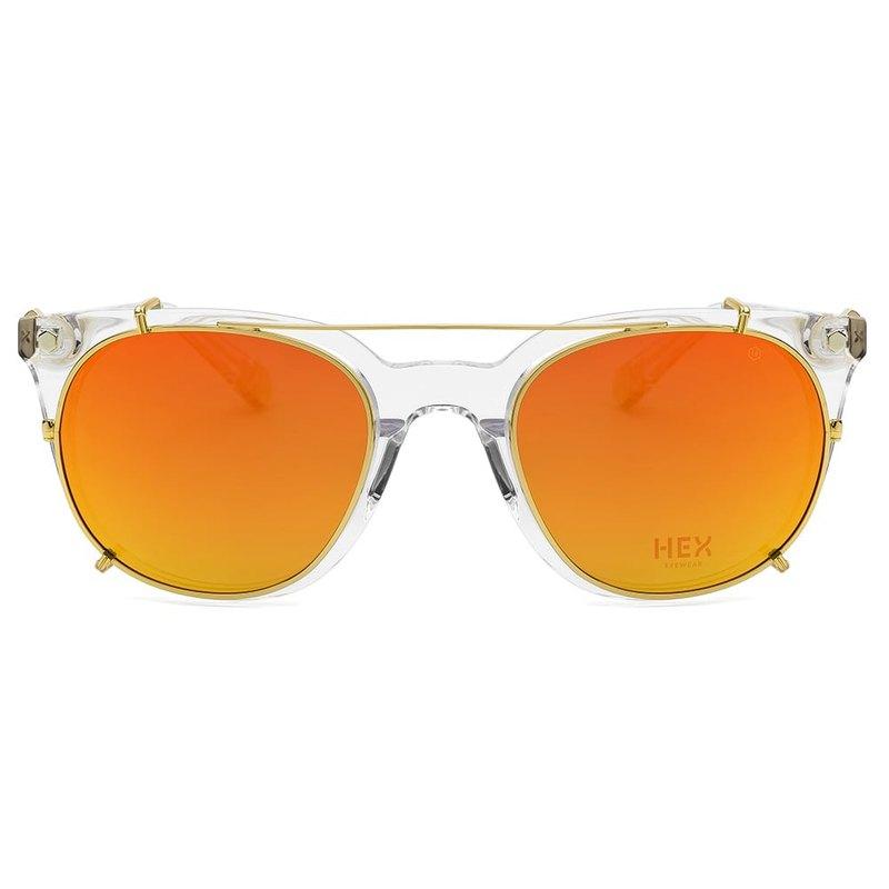 光學眼鏡配前掛墨鏡|太陽眼鏡|透明橘水銀鏡片|義大利製|膠框眼鏡