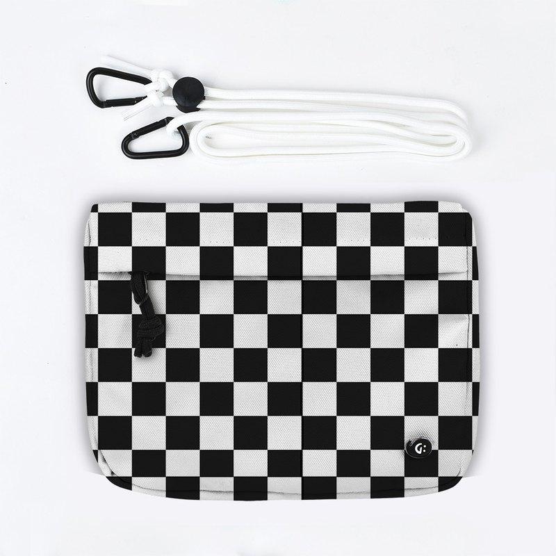 Grinstant混搭可拆組式小包肩背包 - 黑白系列 (棋盤)