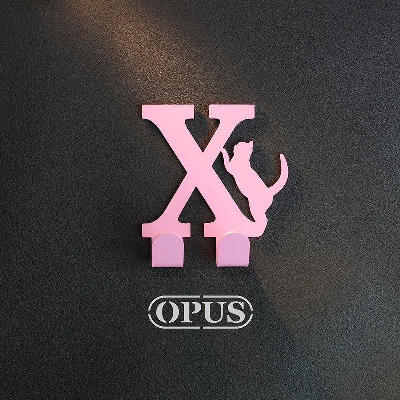 【OPUS東齊金工】當貓咪遇上字母X - 掛勾(粉紅)/壁飾掛勾/傢飾掛架/生活收納/衣架/造型掛鉤/無痕/HO-ca10-X(P)