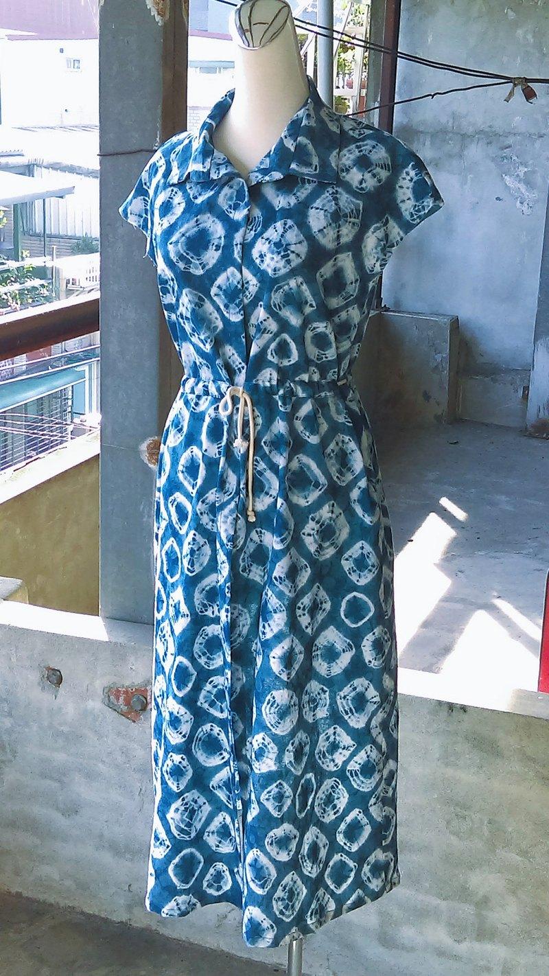 知染生活-天然藍染排釦襯衫洋裝
