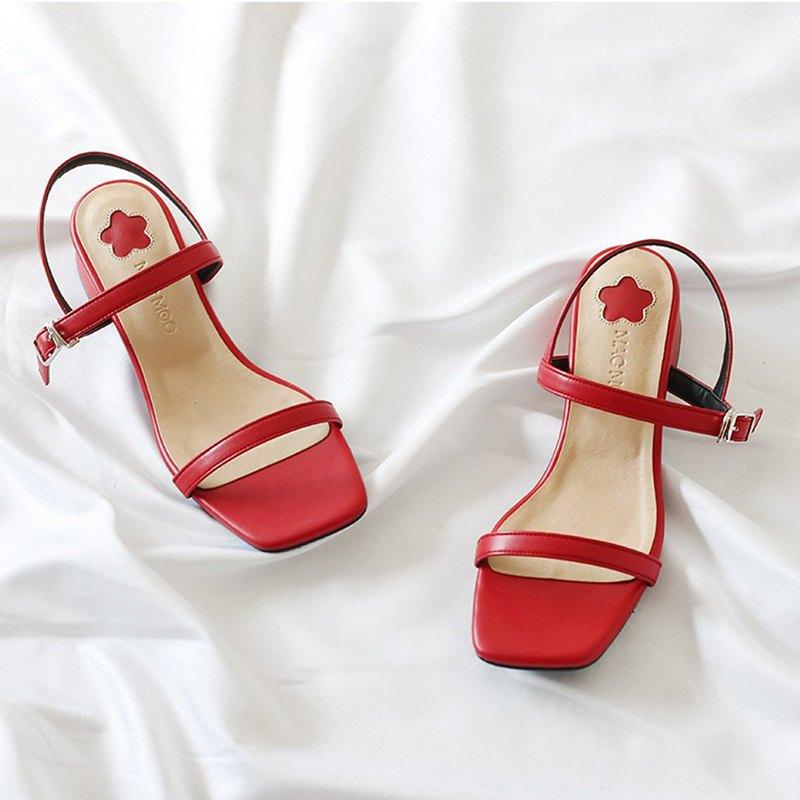 韓國人手製 MACMOC Mingo (RED) 幼帶露趾涼鞋
