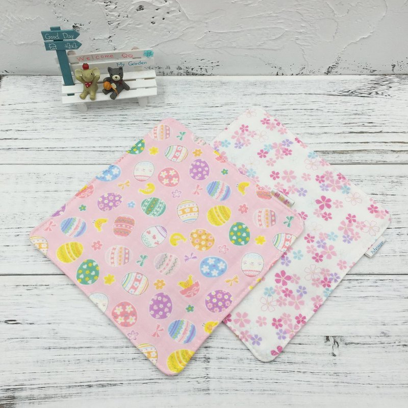 G02-手感柔軟紗布手帕(六層紗布) 雙面圖案 復活節彩蛋&櫻花
